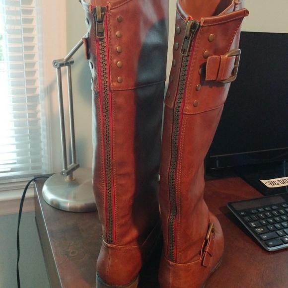 bloquear recuerda Hueso  Steve Madden Shoes | Cognac Red Zipperback Boots 75 | Poshmark